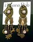BANANA BOB Vtg UNICORN Dangle ART GLASS Rhinestone SWAROV CRYSTAL Clip Earrings