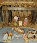 Vintage Christmas Nativity Set Germany Figures numbered w Italy manger stable