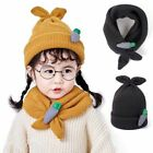 Autumn Winter Kids Beanie Hats Girl Scarf Knitted Cap Cute Bunny Ears Beanies