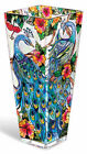 Amia 10 Inch Tall Hand Painted Glass Vase Featuring a Peacock Design