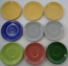 Set of 9 Fiesta Fiestaware saucers - blue, rose, 2 diff. green, 3 yellow, 2 gray