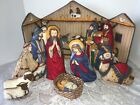 Cranston Nativity Scene Finished 9 Pieces Manger Backdrop Christmas Decor