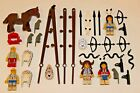 Lot Western Vintage LEGO Native American Indian Figures Horse Weapons Tepees