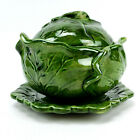 Holland Mold Cabbage Lettuce Shaped Bowl  Lid with Serving Plate Green