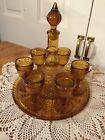 Vintage Indiana Glass Tiara Amber Decanter Tray 6 Cordial Wine Glasses