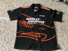 Mens Harley Davidson Screamin Eagle Racing Autographed Shirt button down Sz XL