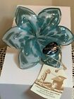 NEW Murano Italian Art Blown Glass 6 Petal Turquoise Green Flower Made in Italy