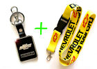 2 in 1 Combo CHEVROLET CHEVY Yellow Lanyard and Black Leather Key Chain