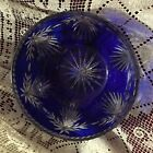 VINTAGE BOHEMIAN ART GLASS COBALT CUT TO CLEAR CRYSTAL PUNCH BOWL STYLING 10X4