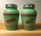 Jadeite Reproduction Green With Red Letters Salt And Pepper Shaker Set
