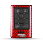 Red Real Carbon Fiber Key Fob Cover Keychain Shell for Cadillac XTS Corvette