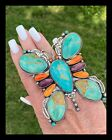 NAVAJO VERY LARGE TURQ PURPLE ORANGE SPINY SS BUTTERFLY RING RLIVINGSTON