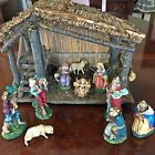 Vintage Made In Italy Christmas Nativity Manger Set Chalk Paper Mache Figures