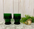 VINTAGE Anchor Hocking FOREST GREEN HONEYCOMB GEORGIAN TUMBLERS SET 2