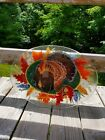 SIGNED VERY RARE PEGGY KARR 18 THANKSGIVING TURKEY OVAL PLATTER FUSED GLASS
