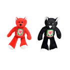 2 Wales Welsh Football FA Mini Soft Plush Black Beanie Bear Badge Crest