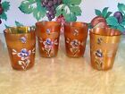 4 vintage Hand Painted Floral Marigold Carnival Glass Tumblers 4 tall