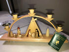 Erzgebirgische LG German Wooden Candle Holder Nativity Scene
