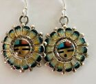 Vintage Native American Zuni Sterling Silver Sun face Earrings