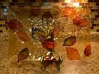 Pier 1 Imports Amber Autumn Leaves Glass Platter 14 x 9 Fall Decor Rare NWT
