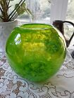 LIME GREEN HAND BLOWN ART GLASS BALL VASE GORGEOUS 8 AROUND 75 TALL EXC