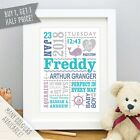 Personalised Cute Whale Baby Birth Details Stats Christening Gift Print Frame