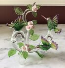 Vintage Hand blown Glass Hummingbird Figurine With Porcelain Flowers 7 Tall