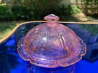 Cherry Blossom Pink Butter Dish  Lid Original Jeannette Depression Glass MINT