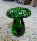 Mid Century Modern Art Glass Green Mushroom with Yellow Flecks Paperweight