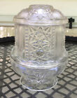 Vintage Indiana Clear Glass Stars And Bars Fairy Light Candle Lamp 2 Pieces
