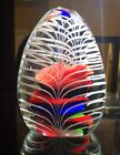 Lrg Authentic Vtg MURANO Glass PAPERWEIGHT EGG Gorgeous WHIRLING Canes 45 Tall