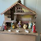 Large Vintage Christmas Nativity Set  Creche Italy 11 Piece