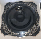 Vintage BLACK AMETHYST Sterling Overlay LARGE Glass Serving or Console BOWL