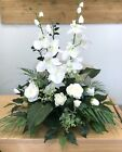 Artificial White Flower Table Arrangement Orchid Rose Palm Memorial Gift
