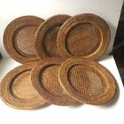 Set of 6 Wicker Rattan 12 Charger Plate Holder Medium Brown Woven BG