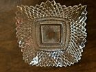 Vintage Indiana Glass Diamond Point Pattern Clear Ruffled Edges Square Dish, 7
