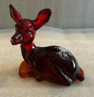 Fenton Glass Hand Painted Fawn Deer Roses on Ruby Signed CF Hubbard 5160RD
