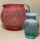 Set of two glass Hobnail PITCHER  glass Hobnail small vase