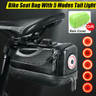 2 Layer Bike Bag With 5 Modes LED Taillight Bicycle Saddle Bag Under