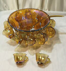 Vintage Indiana Glass Gold Carnival Iridescent Harvest Grape Punch Bowl Set