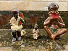 Vintage 3 Ceramic Figurines Young Black Boys Seated