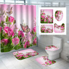 US Butterfly Pink Rose Bathroom Shower Curtain Bath Rug Mat Toilet Lid Cover Set