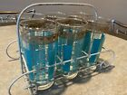 6 Vintage Turquoise  Gold Mid Century Modern 10 Oz 5 Glasses In Metal Carrier