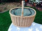 STEAMED WILLOW GREEN TWEED OVAL COOLER BASKET POSH COOL BAG GORGEOUS