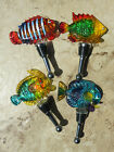 Glass Tropical Reef Fish Wine Bottle Stoppers Set 4