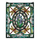 Dragonfly Floral Victorian Stained Glass Window Design Toscano Art Glass
