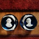 TWO Franklin Mint Baccarat 1975 Paperweights George Washington  Abraham Lincoln