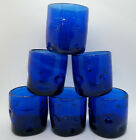 6 Cobalt BLue BLown Art Glass Pinched Low Ball Tumblers Glasses 3