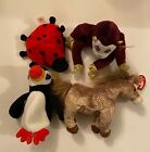 Lot TY Beanie Babies 1993-Lucky, 1997-Puffer, 2002-Filly, 2007-Monkey