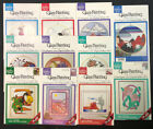 Lot of 11 Vtg Gallery Glass Painting Pattern Flowers Southwest 14 Round Plaid